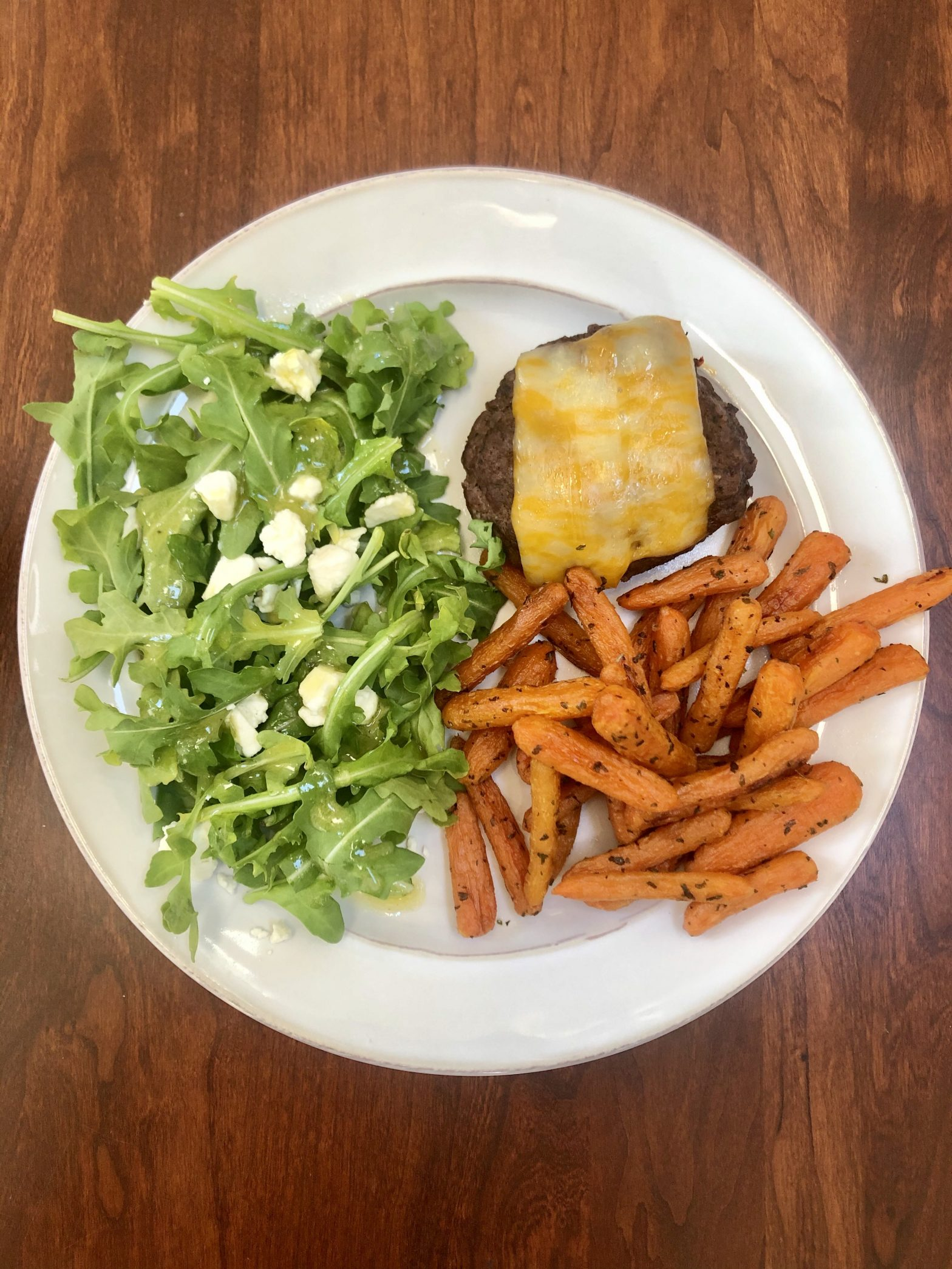 Burgers with Arugula Salad and Carrot Fries